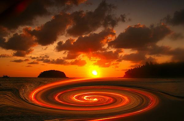 Sonnenuntergang-Wirbel